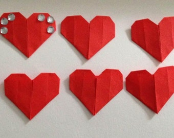 Ten Red Valentine Origami Heart Table Decorations