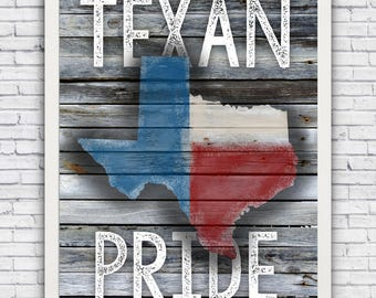 TEXAN PRIDE state outline - framed wall art print w/ optional frame - FREE shipping!