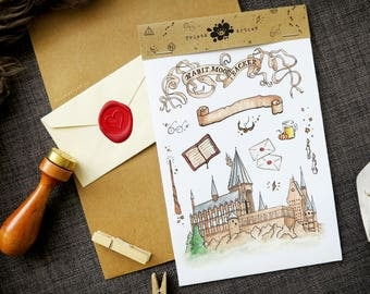 Handmade watercolor Harry Potter stickers #1 Hogwarts