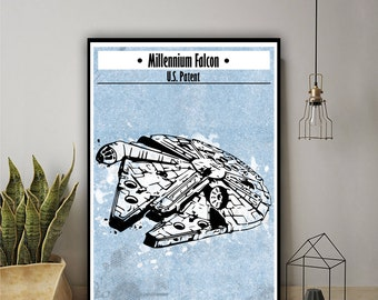 Falcon inspired alternative poster, star wars gift, star wars wall art, star wars decor, star wars ship, han solo, chewbacca, space ship