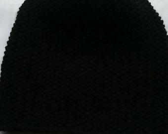 BLACK Knitted SLOUCH HAT