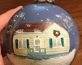 Hand Painted Christmas Ornament of Home