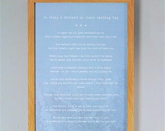 Bespoke, Personalised Wedding Poem/Reading - Printed and Framed A3 20 Lines