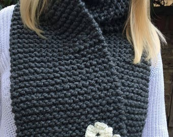 Chunky Knit Grey Scarf with Crocheted Flowers