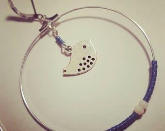 Miuiki blue beads and bird charm earrings