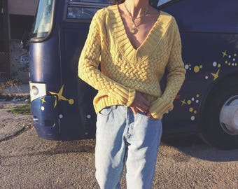 Vintage merino wool banana yellow deep v-neck knit
