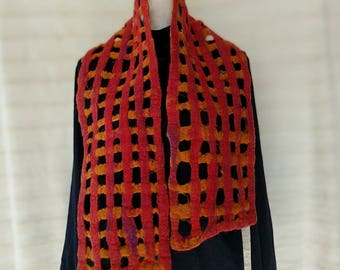 Hand felted lattice style scarf red fashion  four feet long and nine inches wide felt wool