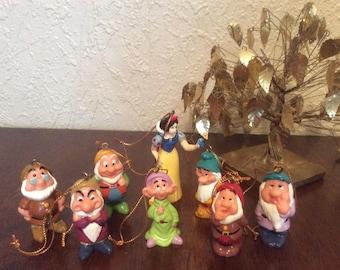 Disney Snow White & the Seven Dwarfs ornament set Rare/Vintage
