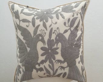 authentic Mexican handmade pillow cover gray embroidered textile decorative throw pillow bohemian boho cushion cover