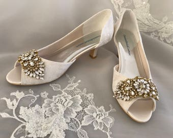 Gold Wedding Shoes Bridal Ivory Lace For The Bride Low Heel