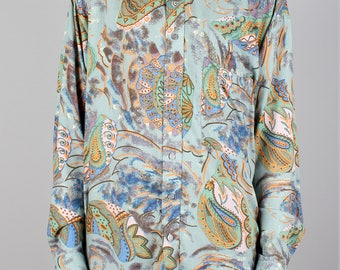 90s pattern shirt - vintage blue green all over print - 70s paisley - 1990s button down shirt - long sleeves blouse - mens / womens unisex
