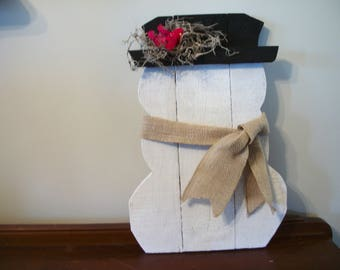 primitive pallet snowman decor