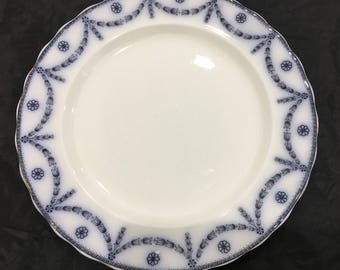Furnivals England Dinner Plate Scroll Chippendale Antique 1890-1913 Flow Blue Transferware