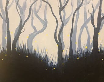 Firefly Forest Acrylic Painting Canvas Custom Hand Painted Swirls Black Blue for Home Kitchen Living Room Bedroom Original