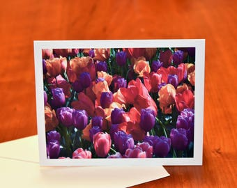 Tulip Greeting Card with Envelope, Blank Notecard of Skagit Valley Washington Tulips, Flower Card, Red Tulip Nature Photography Note Cards