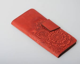 Red wallet women, red leather wallet, soft leather wallet, wallet with coin pocket, full grain wallet, clutch wallet, womens wallet