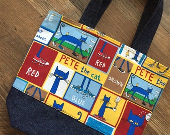 Pete the Cat Bag, Tote, Pete the Cat Tote Bag, Tote Bag, Vacation Bag, Lunch Bag, Electronics Bag, Cat Lover, Project Bag