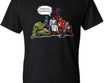 And That's How I Saved The World Jesus Superheros Christian T-Shirt Funny, Spider Man Above