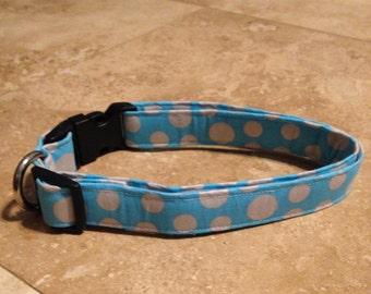 Blue Polka Dot Dog Collar - Adjustable