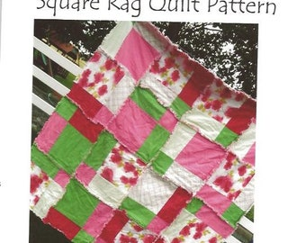 Disappearing 9 Square Rag Quilt Pattern - Baby Quilt Pattern - Kid Sewing Pattern - Easy Quilt Patterns - Simple Quilt Pattern