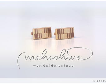 wooden cuff links wood walnut maple handmade unique exclusive limited jewelry - mahoshiva k 2017-116