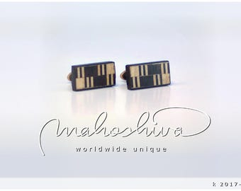 wooden cuff links wood fumed oak maple handmade unique exclusive limited jewelry - mahoshiva k 2017-117