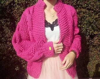 Romantic! Handknit Cozy Cardigan, Oversized Cardigan, Chunky Knit Cardigan, pink  Cardigan, Oversized Sweater, Cozy Sweater, Fluffy Cardigan