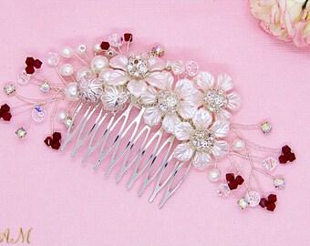 Swarovski Hair Comb, Red Swarovski Crystals Hair Comb, Red Hair Comb, Red Bridal Headpiece, Bridal Hair Comb, Wedding Hair Comb