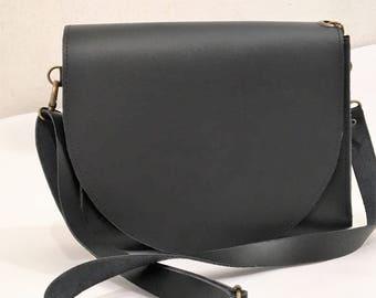 Minimalist leather bag, Woman leather bag, Bag, Leather bag, Minimal woman bag, Black leather bag, Belt and shoulder bags, Messenger bag