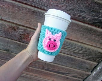 Crochet Coffee Cozy with Pig / Reusable Coffee Sleeve / Coffee Sleeve / Cup Cozy