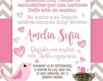 Cute Bird Birthday Invitation / Bird Birthday Invite / First Birthday