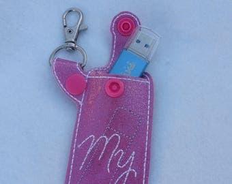 Glitter chapstick holder lip gloss pouch lipstick lip balm case usb stick key chain keyring