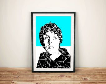 Paul McCartney Unique Contemporary Geometric Art print in electric blue size A4 or A3