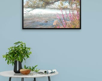"Watercolor landscape ""By the Flowing River"" by Malinee Ganahl. Framed Fine Art Lustre Print.  Pink flowers and tree branch by water's edge."