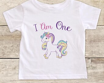 I Am One Pretty Rainbow Unicorn design boho - Two Three Four First Second Third Fourth Birthday Girl Shirt 4th Age 4 Toddler Youth Shirt