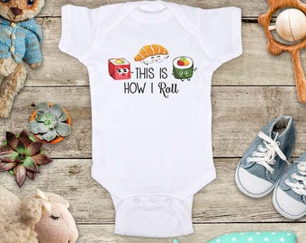 This is How I Roll funny Japanese sushi food cute baby bodysuit baby shower gift - Made in USA - baby birth pregnancy announcement