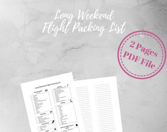 Travel Planner, Packing List, Vacation Planner, Long Weekend, Flight Packing List, Printable, A4, Digital Download
