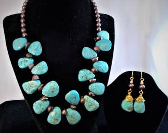 18 inch blue turquoise magnesite with brown water pearl necklace and earrings