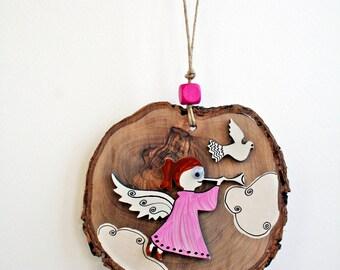 Wooden Handpainted Decoration-Wooden Handpainted Ornament-Angel Decoration-HomeDecor-Wood Slice
