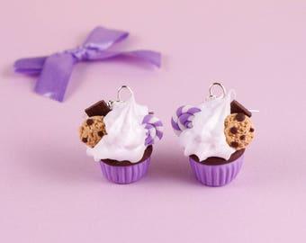 Purple cupcake earrings, sweet earrings, food jewelry, ultraviolet earrings, gift for foodie, violet cupcakes, birthday present, fimo sweets