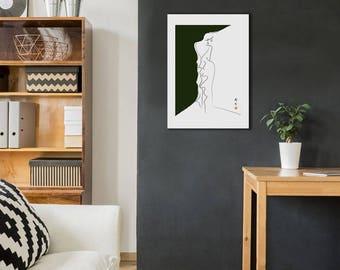 Fashion illustration - green wall