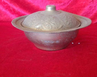 Rustic Antique Ottoman Style Vintage Hand Made Brass Sugar Basin #2597