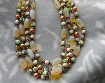 Chunky Yellow and Floral Beaded Choker