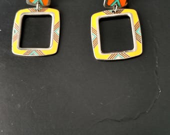 "Vintage Laurel Burch ""Kozo"" Almost Square Earrings in Yellow Orange with Teal Accent"
