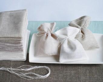 Pastel linen favor bags, 18pcs natural rustic bags, wedding gift bags, rustic gift bags, wedding favor bags, candy bags,baptism favor bags