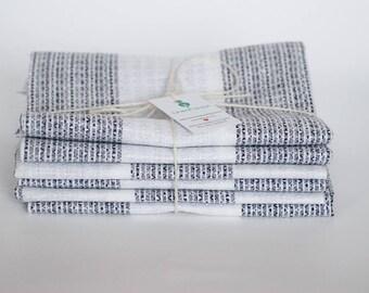 Stripe linen napkins remnants, linen craps, linen for kitchen, fabric scraps bundle, white black linen