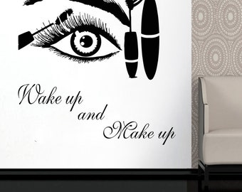 Wall Decal Window Sticker Beauty Salon Woman Face Eyelashes Lashes Eyebrows Brows t654