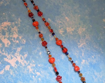 Crystal Necklace, lampwork, fire, ladybug, red, glitter, sparkle, 925 sterling silver Clasp