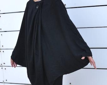 Women Poncho,Autumn & Winter Fashion,Poncho Wrap,Gift Ideas,Gift for Her - Black