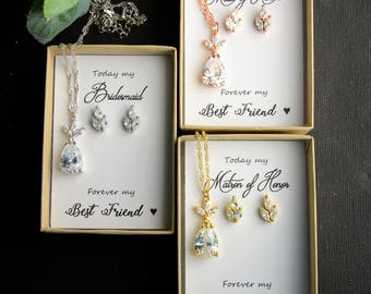 Bridesmaid Gift Bridesmaid NECKLACE and EARRINGS Bridesmaids Gifts set wedding earrings bridal earrings Cubic Zirconia Rose gold earrings